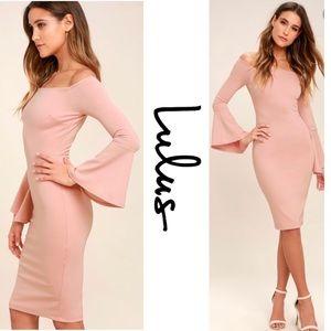 Lulu's All She Wants Blush Pink Off Shoulders Midi